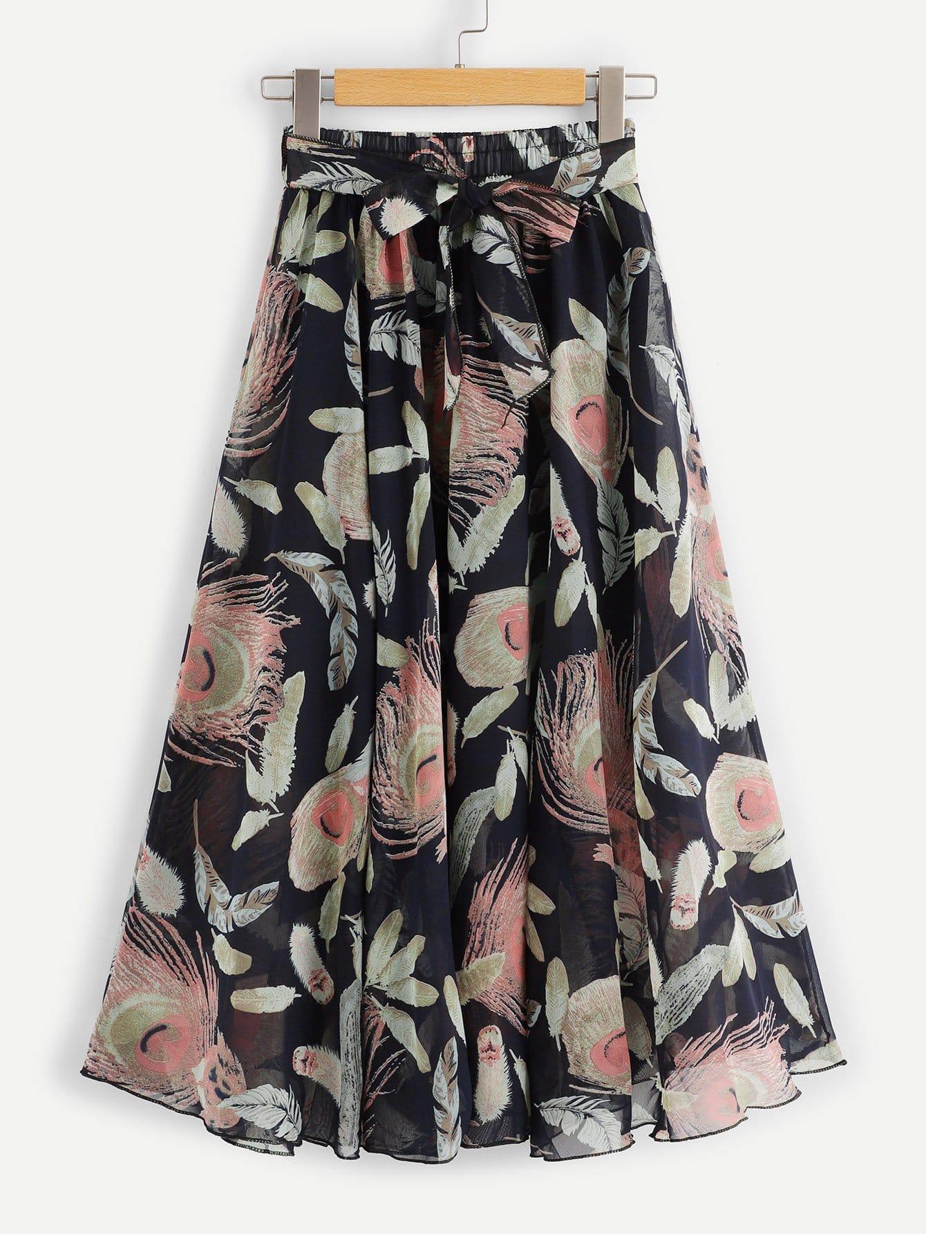 Купить Ситцевая юбка шифона с поясом, null, SheIn