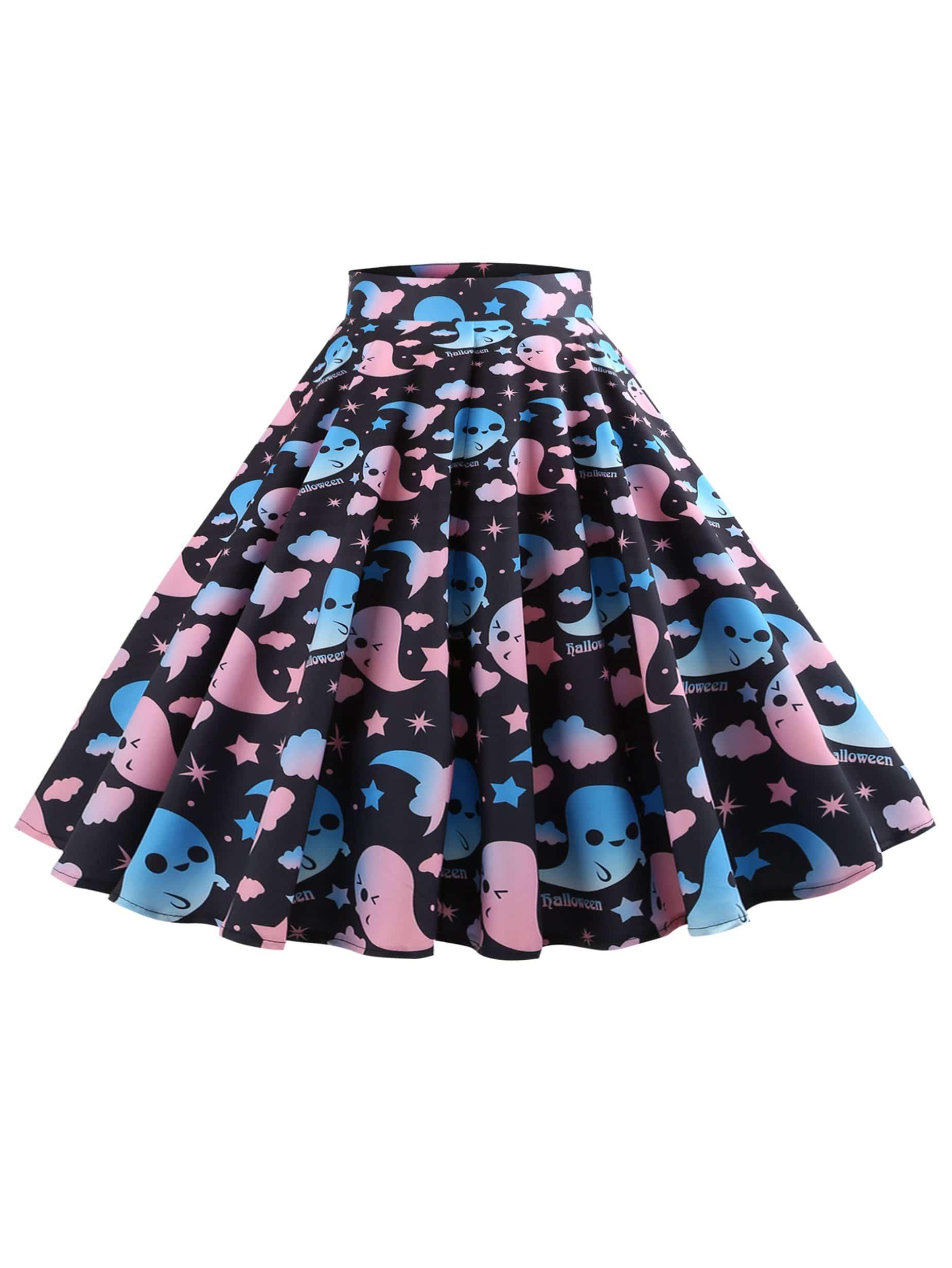 Плиссированная юбка с принтом мультипликация