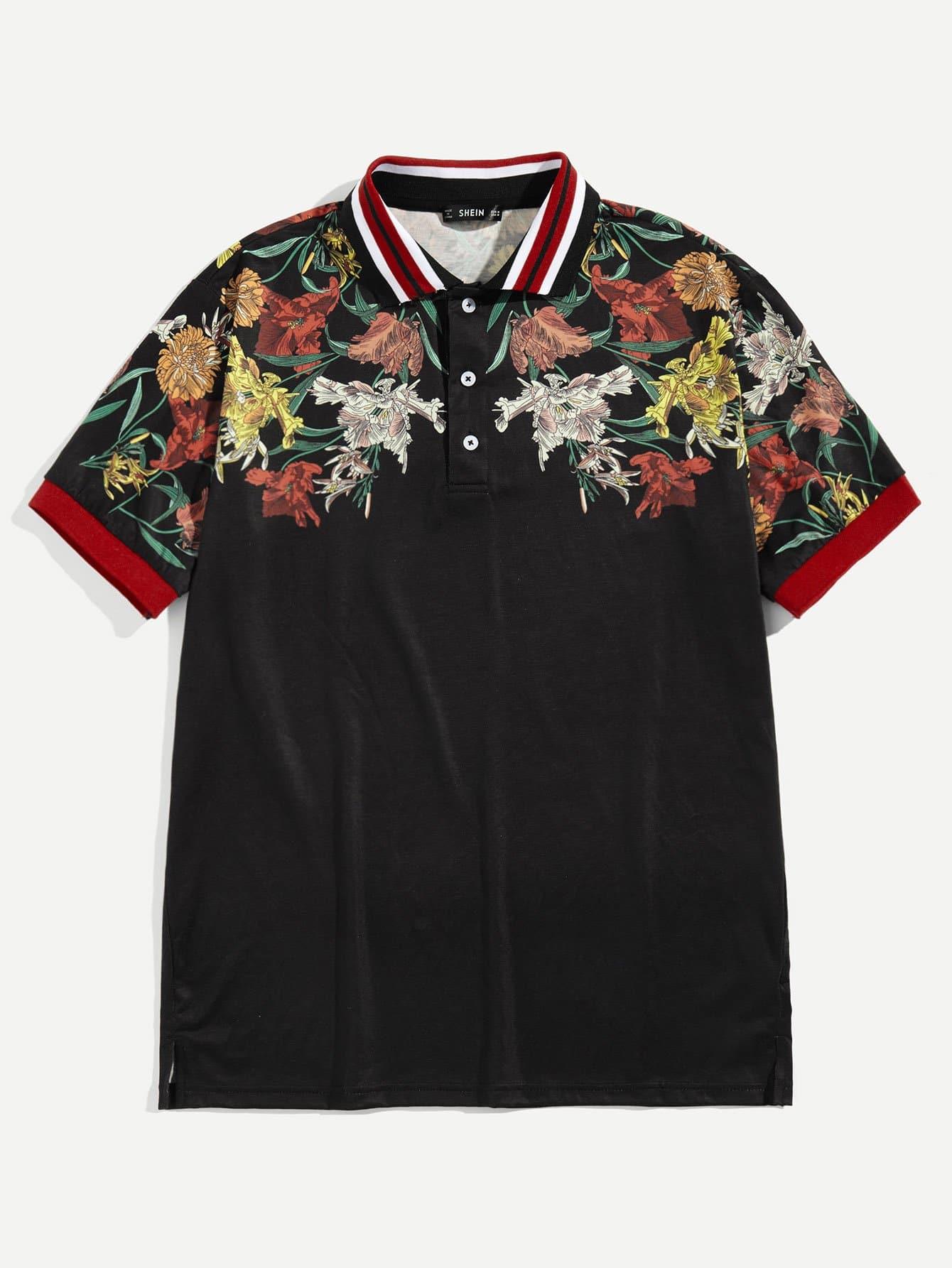 Купить Для мужчин поло рубашка с цветочным принтом, null, SheIn