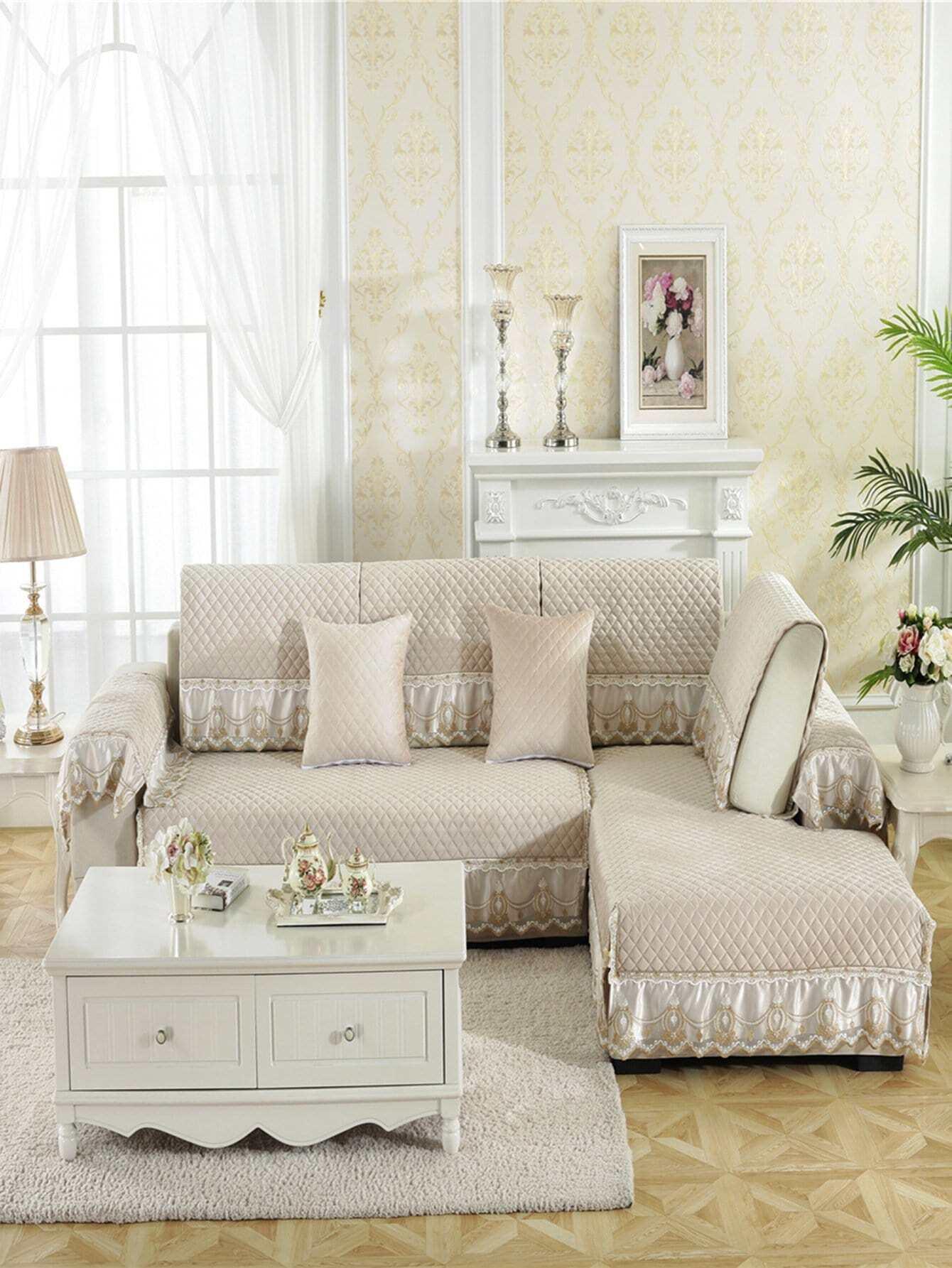 Купить Чехол для дивана с рельефными узорами и кружевными оборками 1 шт, null, SheIn