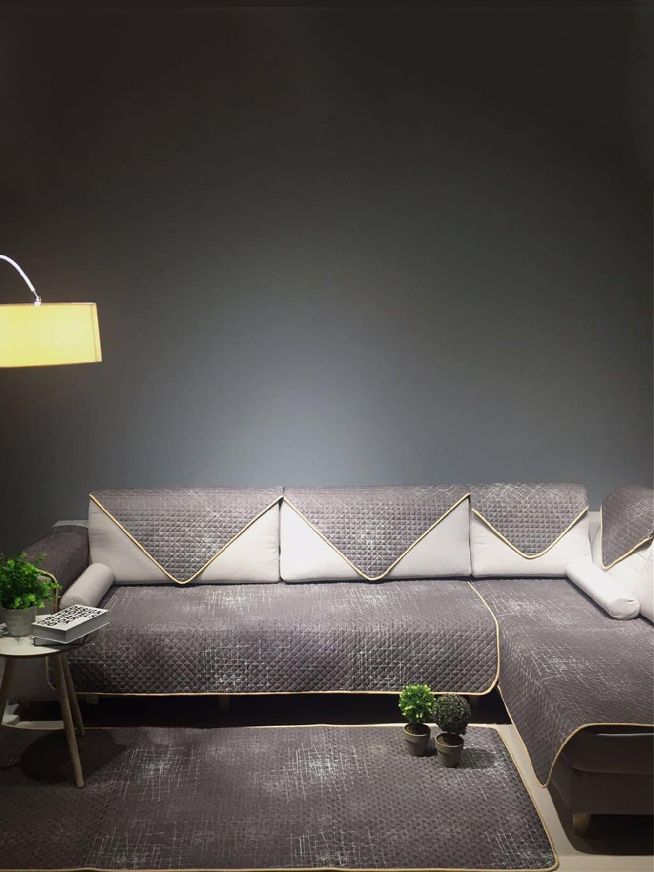 Купить Чехол для дивана в клетку с рельефными узорами 1 шт, null, SheIn