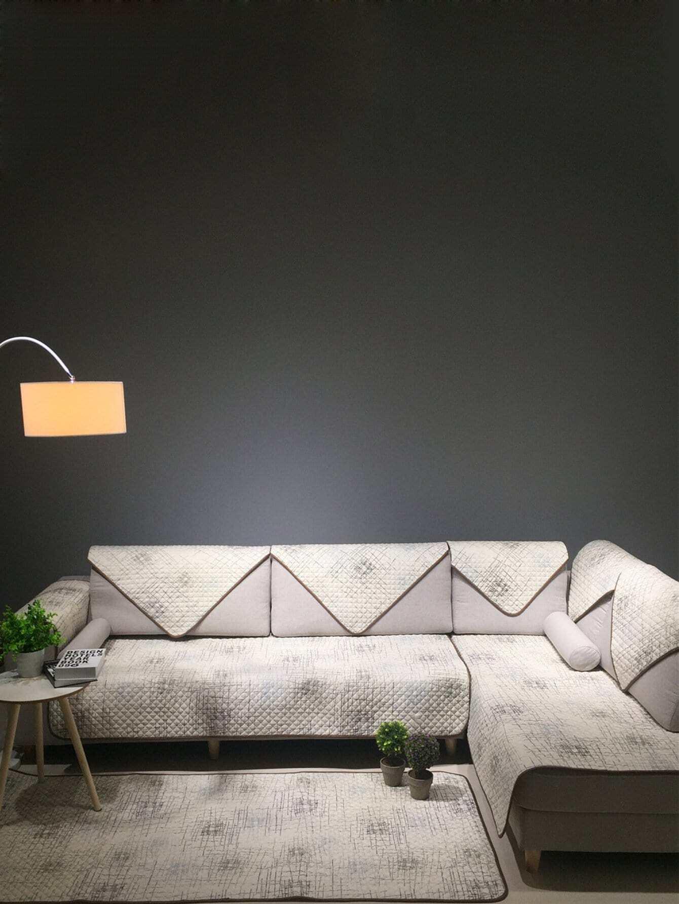 Купить Чехол для дивана в клетку с принтом абстрактным 1 шт, null, SheIn