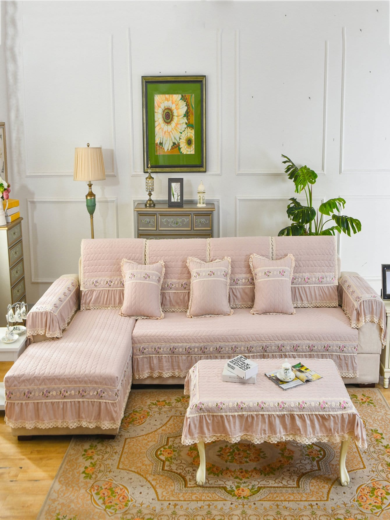 Купить Чехол для дивана с кружевами 1 шт, null, SheIn