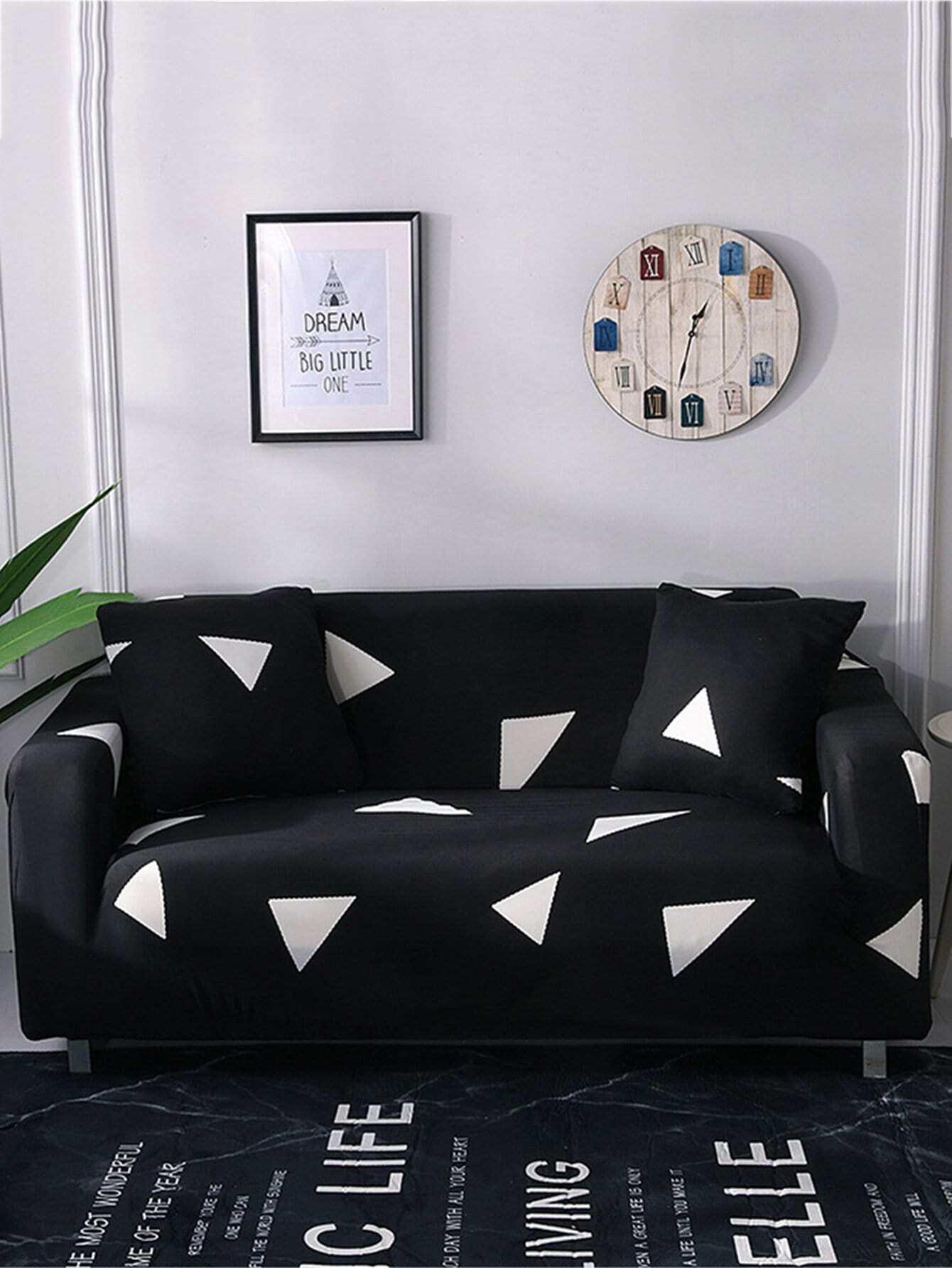 Купить Эластичный чехол для дивана 1шт и подушки 1шт с принтом треуголиников, null, SheIn