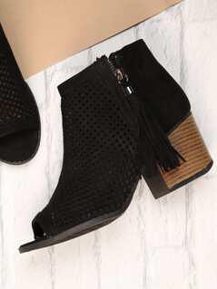 Tassel Zip Perforated Peep Toe Chunky Heel Booties
