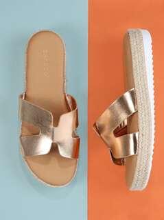 Jute Trim Flatform Dual Cut Out Slide Sandals