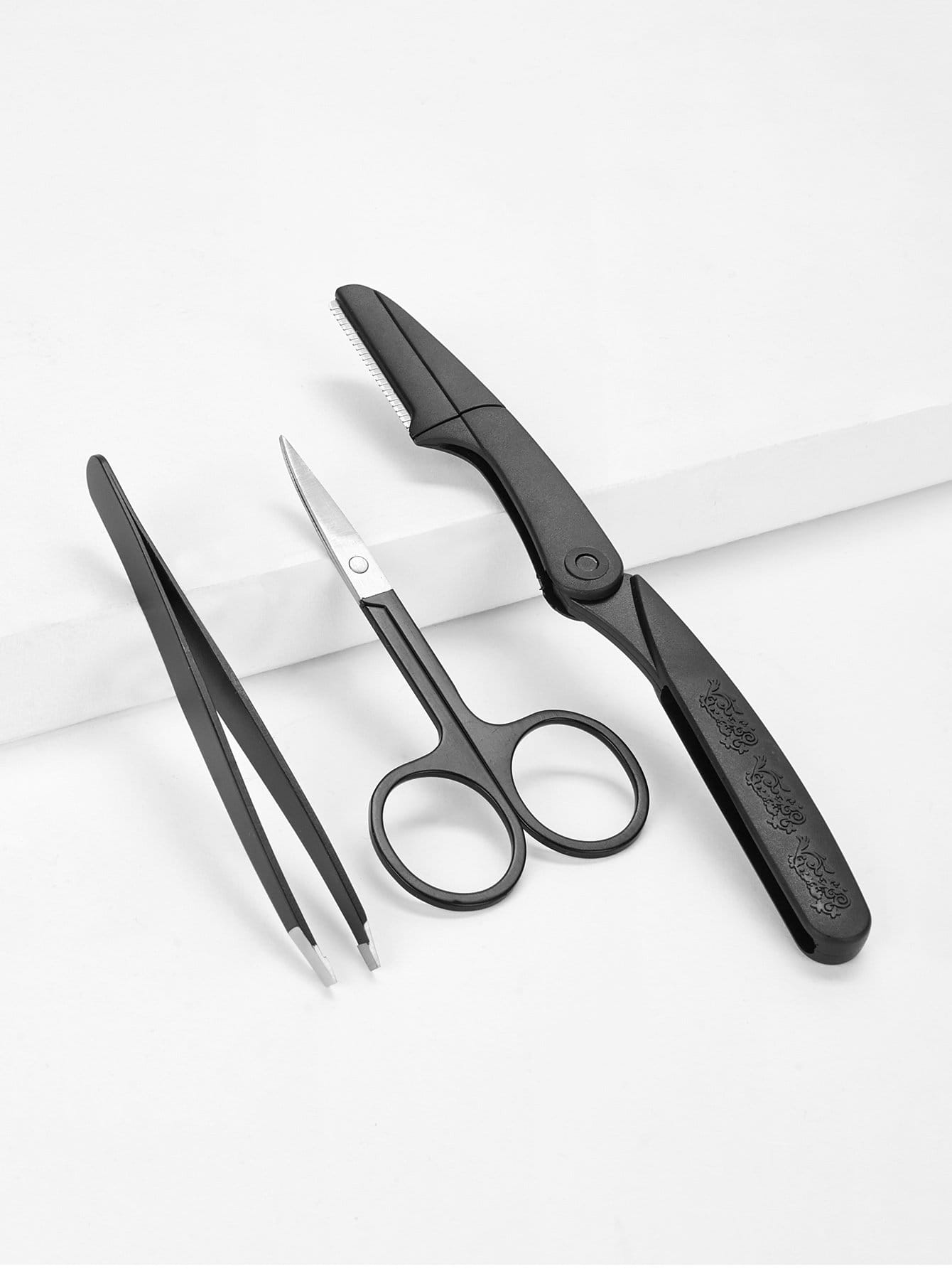 Купить Комплект щипцы для бровей и бритвы для коррекции и бровей для триммеров 3шт, null, SheIn