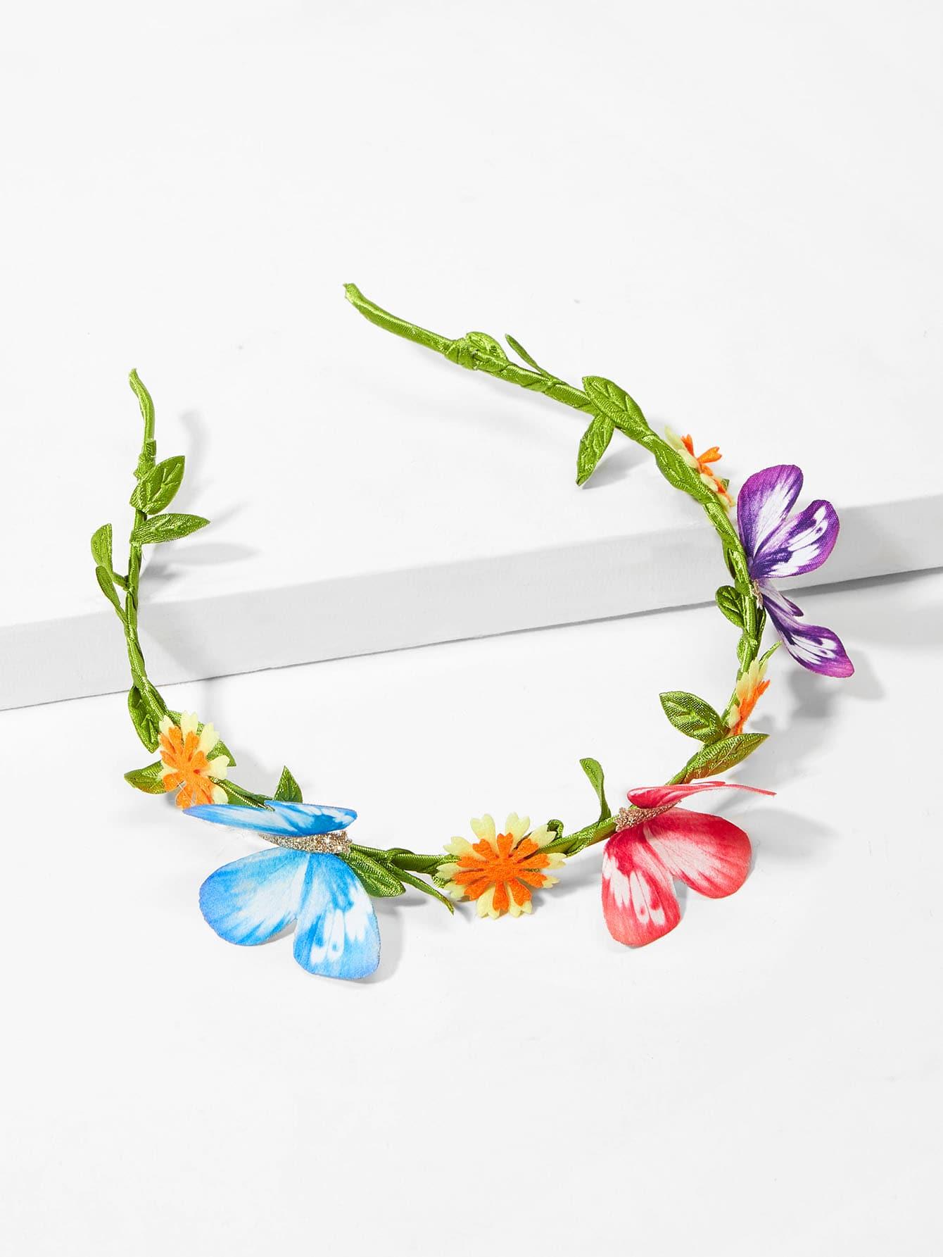 Купить Ободок для волос с украшением цвета и бабочки для девочек, null, SheIn