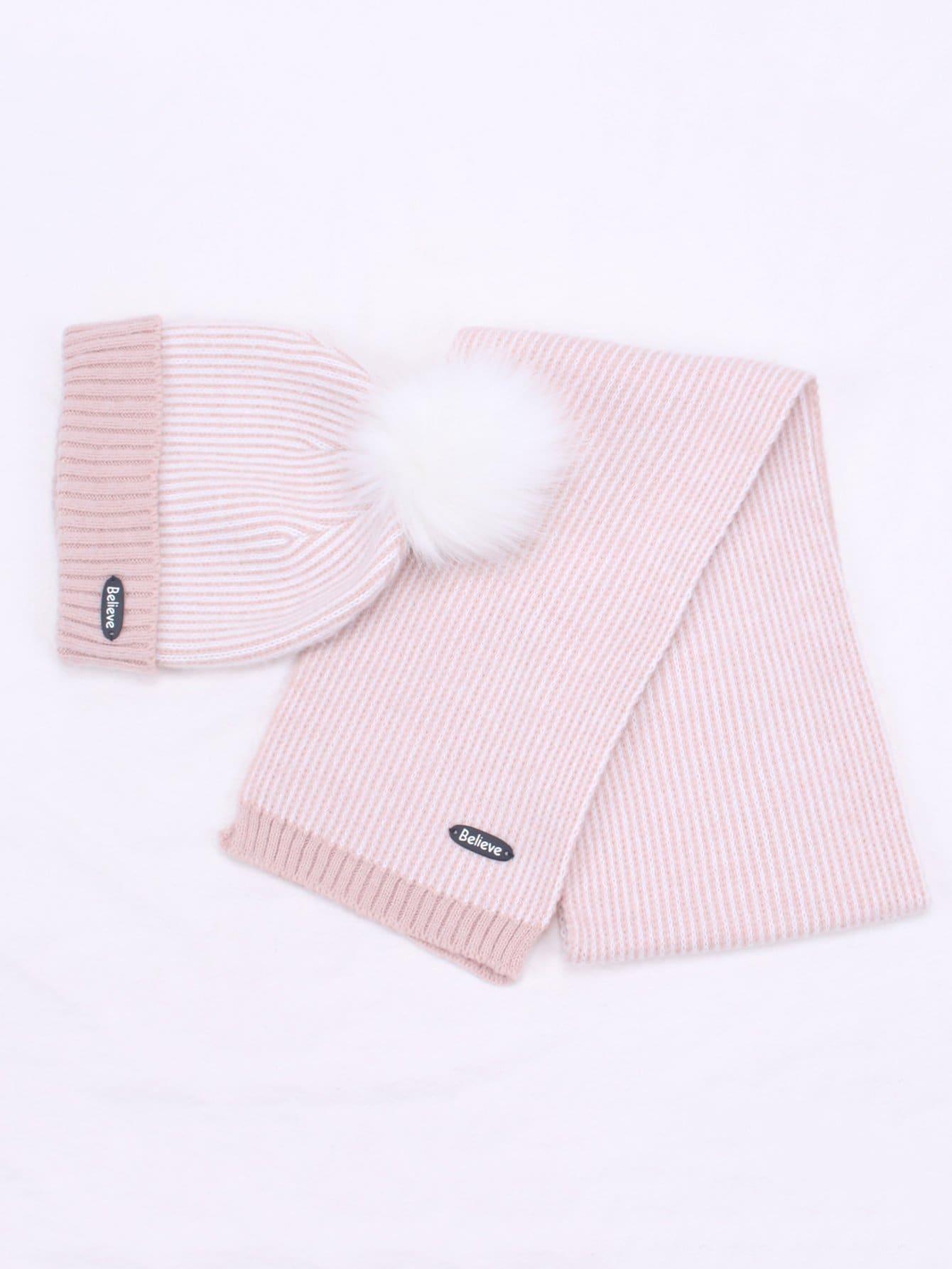 Купить Детская полосатая шапочки шляпа и шарф, null, SheIn