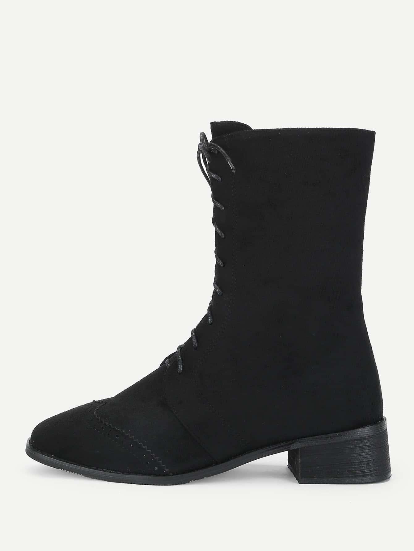 Купить Сапоги с шнурками и застёжкой молния, null, SheIn