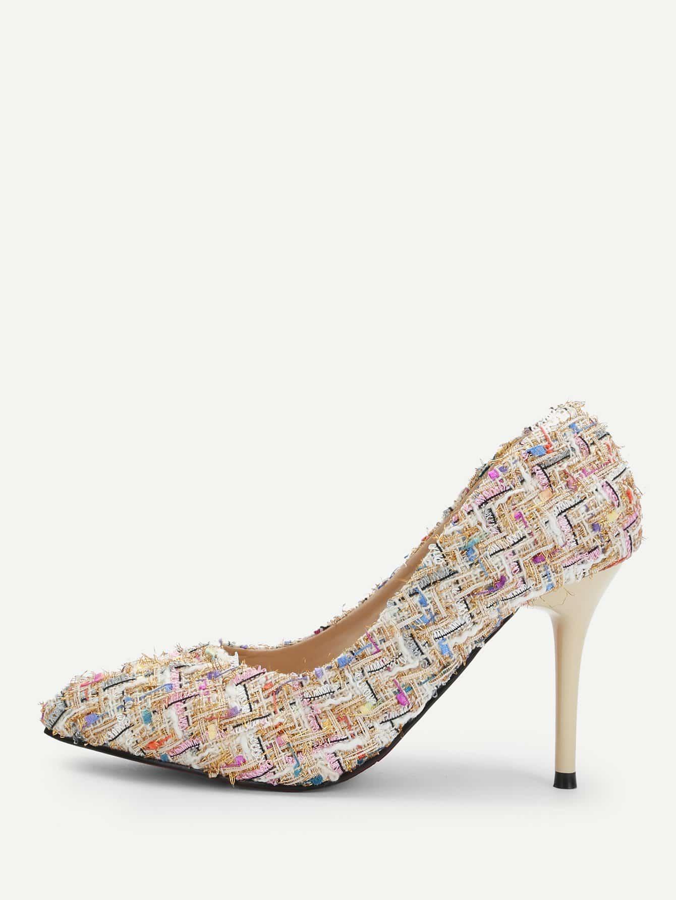 Купить Туфли на высоких тонких каблуках из твида, null, SheIn