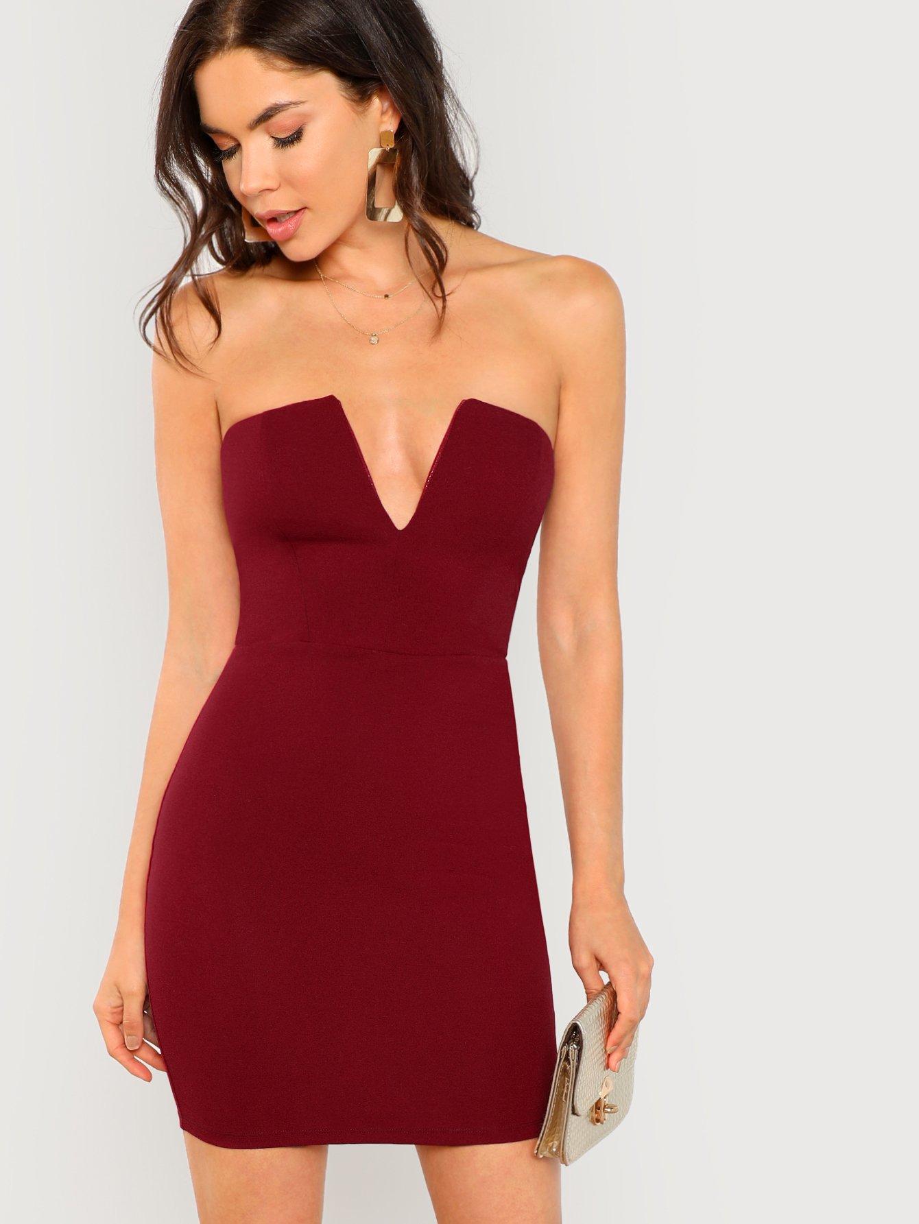 Купить Платье без рукавов с глубоким вырезом, Aarika Wolf, SheIn
