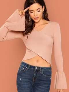 V-Neck Wrap Front Rib Knit Flared Sleeve Top