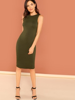 Round Neck Sleeveless Midi Jersey Tank Dress