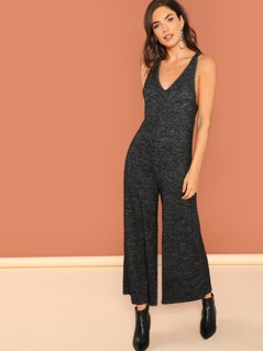 Heathered Jersey Knit V-Neck Wide Leg Jumpsuit