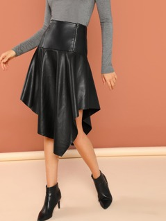 Asymmetric Hem Faux Leather High Waist Skirt