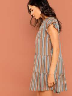 Ruffle Sleeves Shirred Stripe Shift Mini Dress