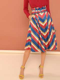 Belted Chevron Stripe Print A-Line Midi Skirt