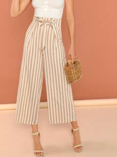 Striped Waist Tie Wide Leg Cropped Linen Pants
