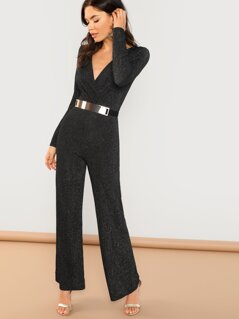 Belted V-Neck Glitter Knit Back Cut Out Jumpsuit