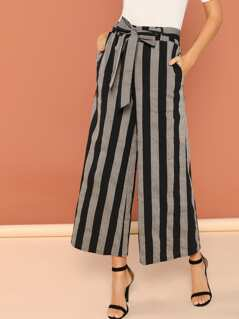 Elastic Waist Tie Striped Wide Leg Lounge Pants