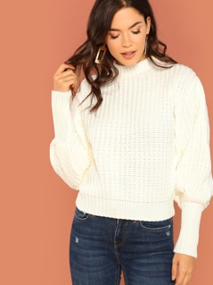 Puff Sleeves Thick Knit Cozy Sweater