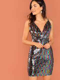 V-Neck Cami Sleeveless Sequined Mini Dress