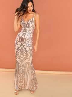 Sequined V-Neck Sleeveless Back Slit Maxi Gown
