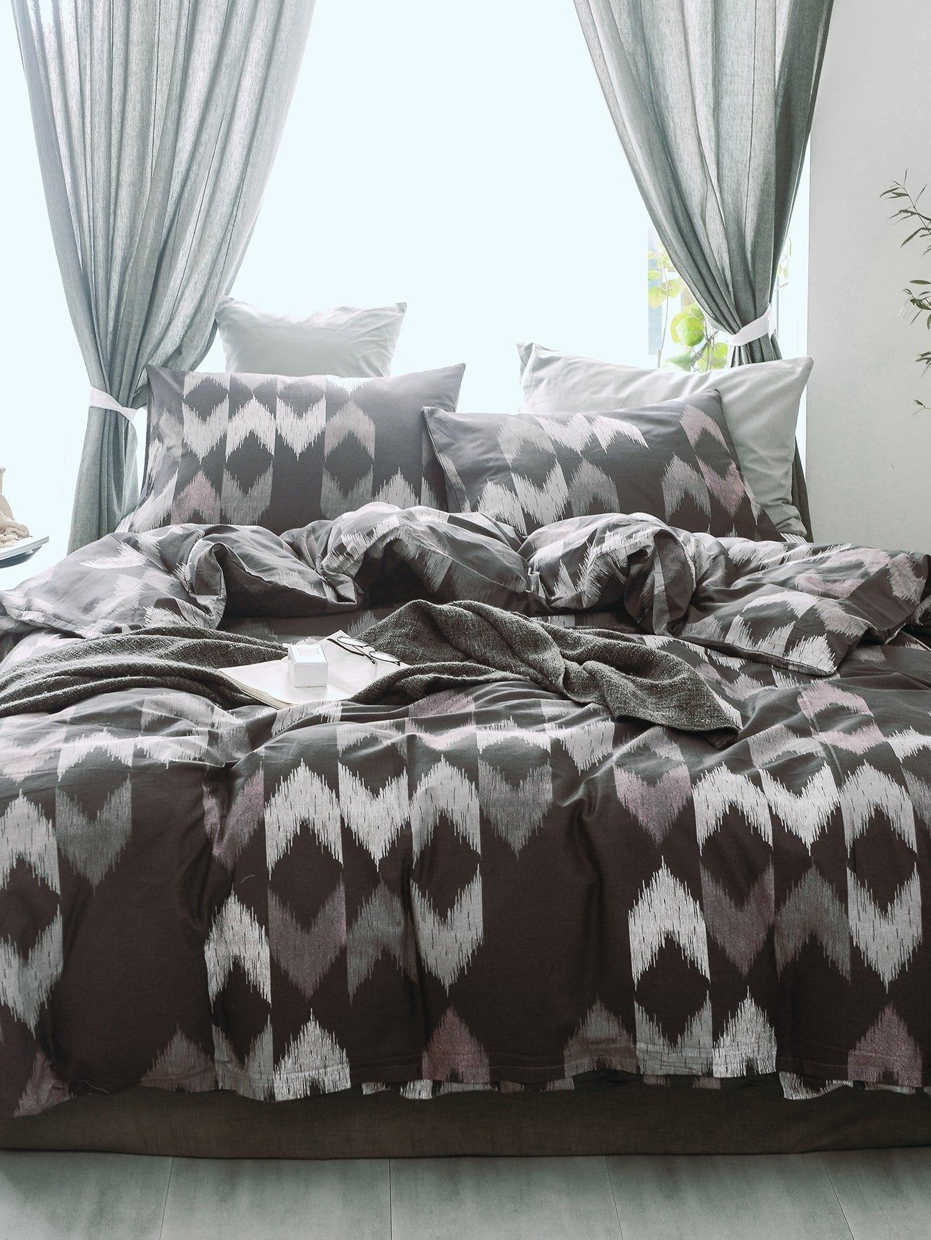 Купить Комплект постельного белья с принтом значков, null, SheIn