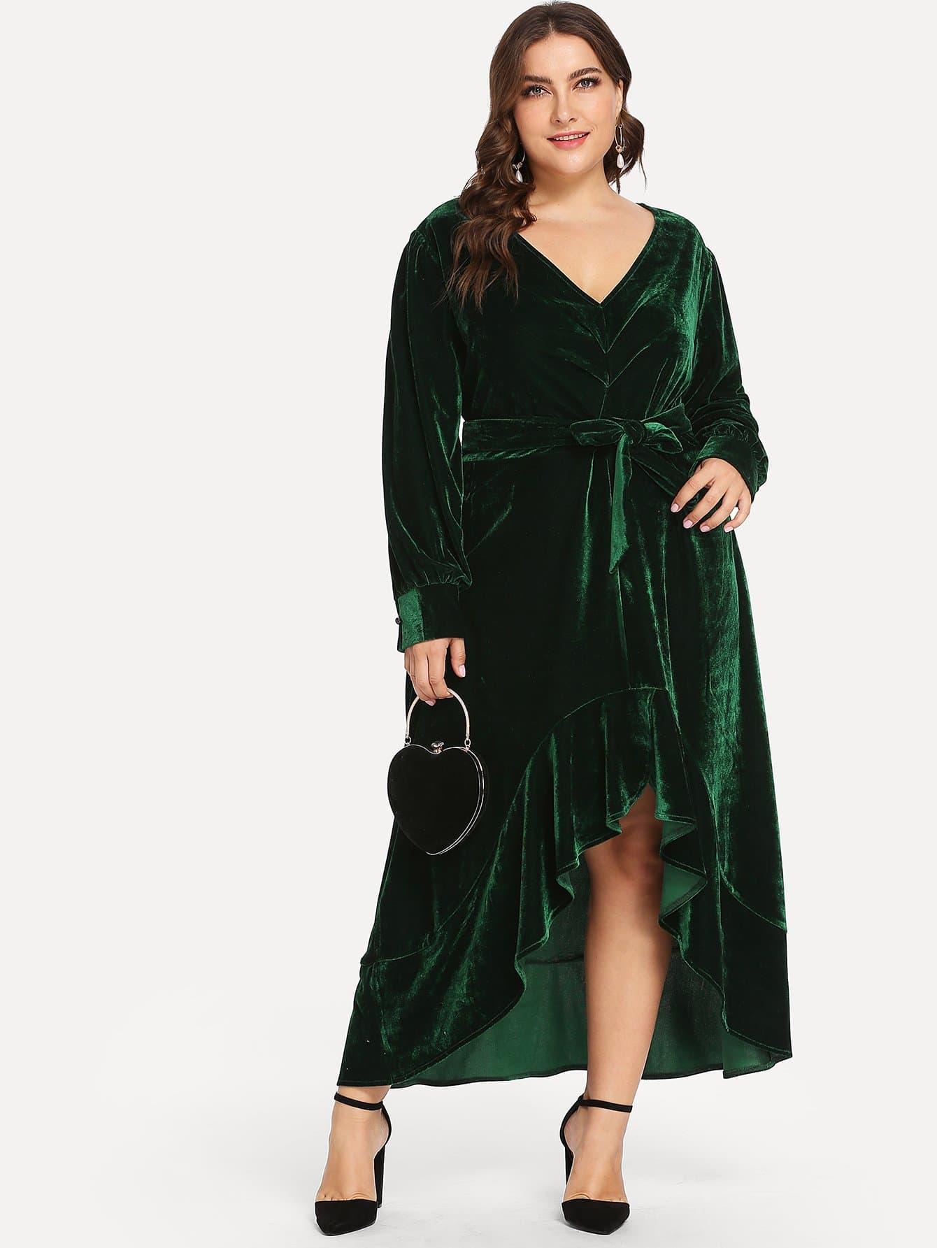 Плюс размеры твердое бахратное платье с v-образным вырезом
