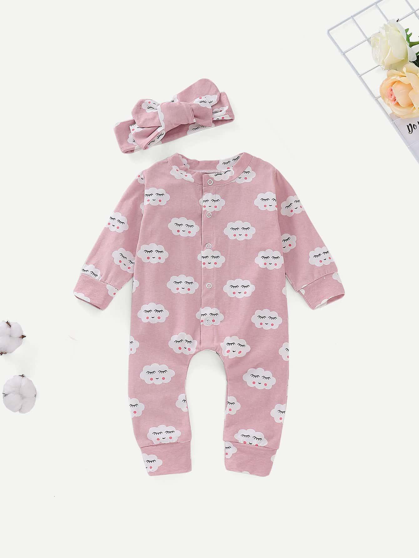 Купить Комбинезон с принтом мультяшным и бандана для малышских девочек, null, SheIn