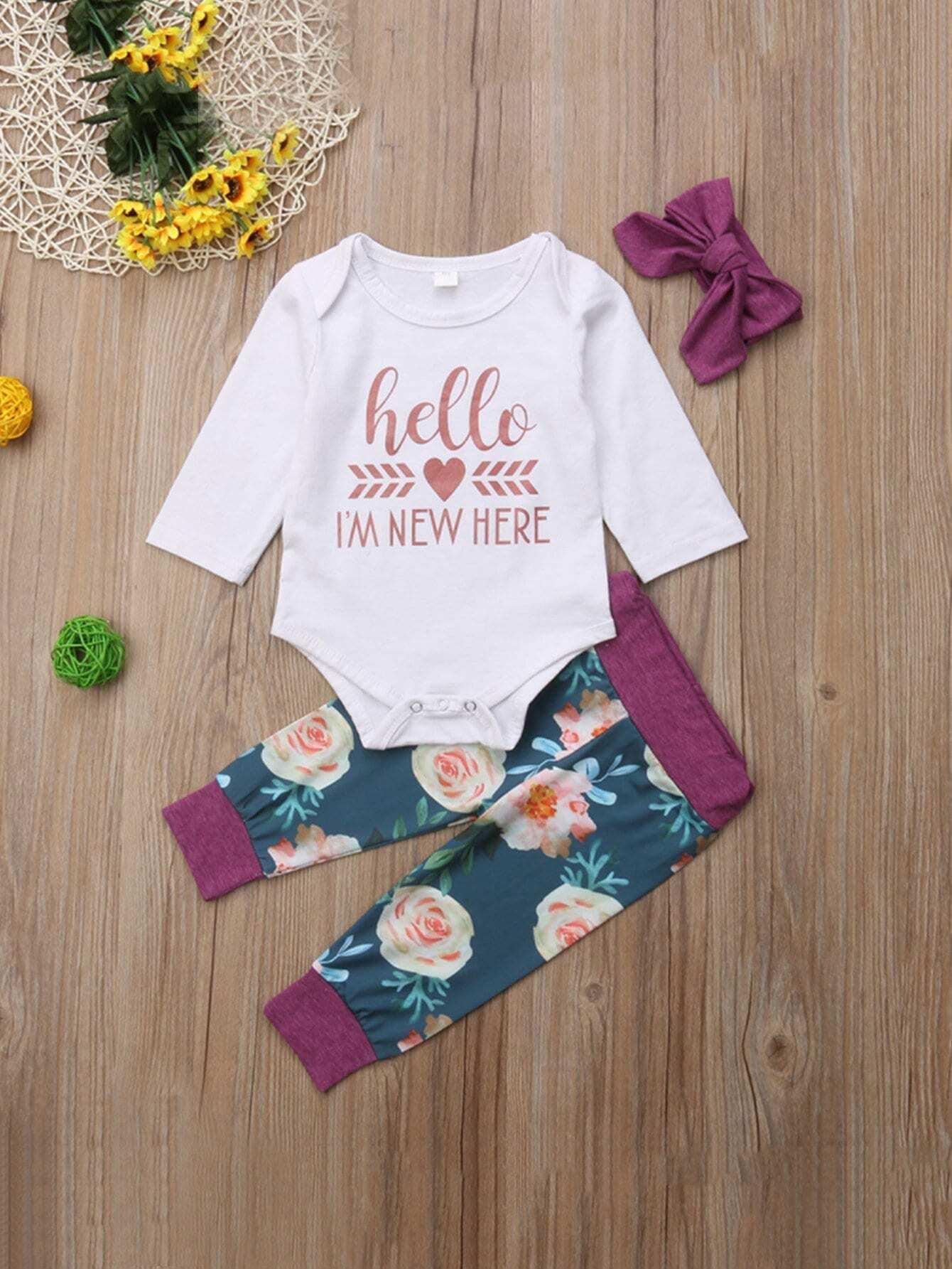 Купить Ситцевая блуза с принтом букв и брюки и бандана для малышских девочек, null, SheIn