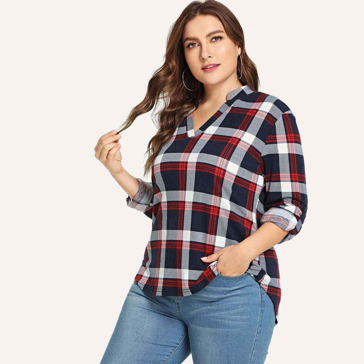 Veel kleurig Casual Gevlochten Grote maten blouses