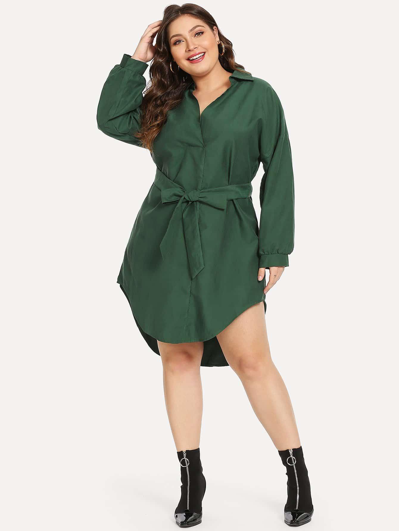 Купить Большое асимметричное платье с поясом, Carol, SheIn