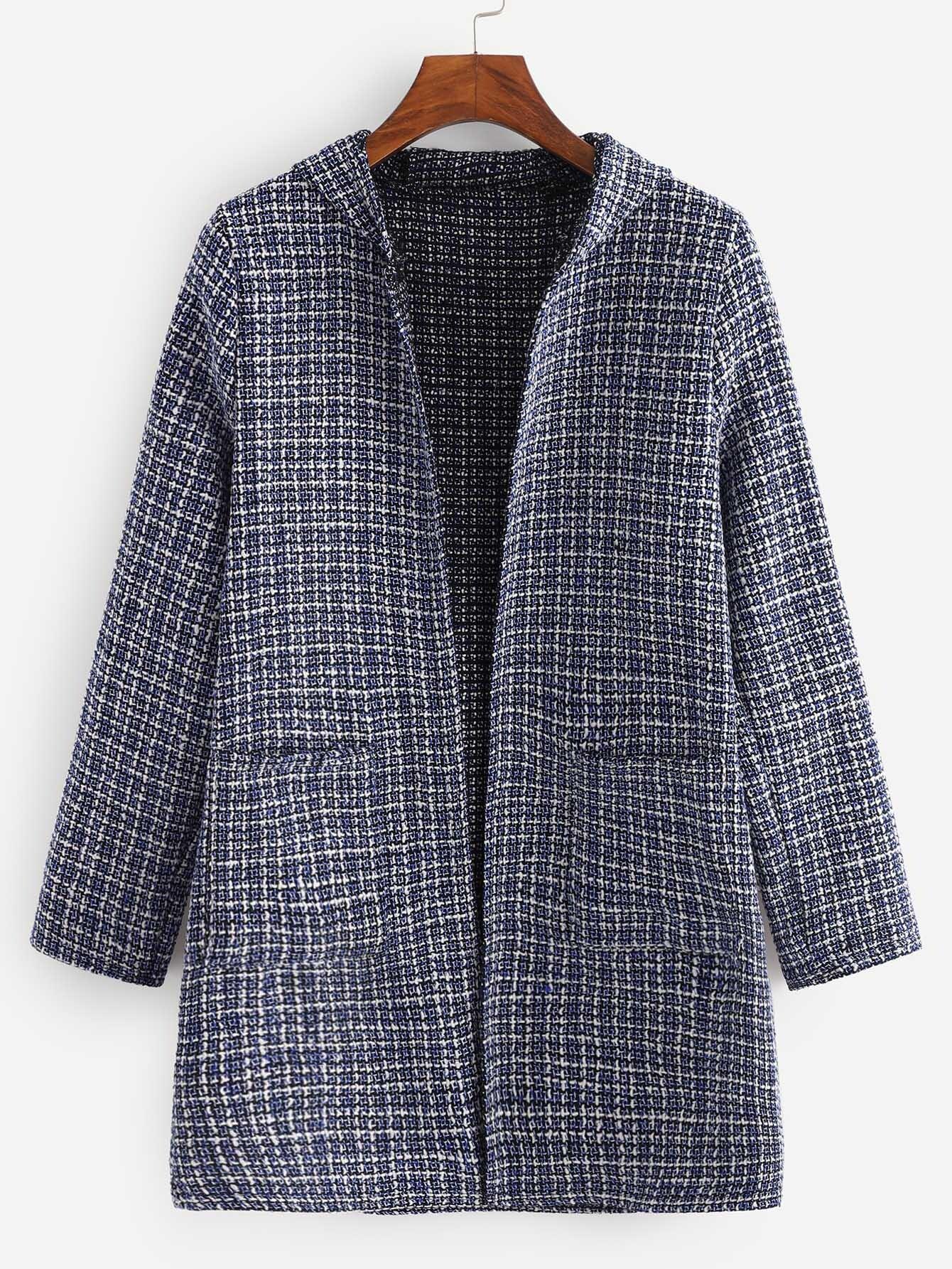 Купить Пальто с капюшоном и карманами из твида, null, SheIn
