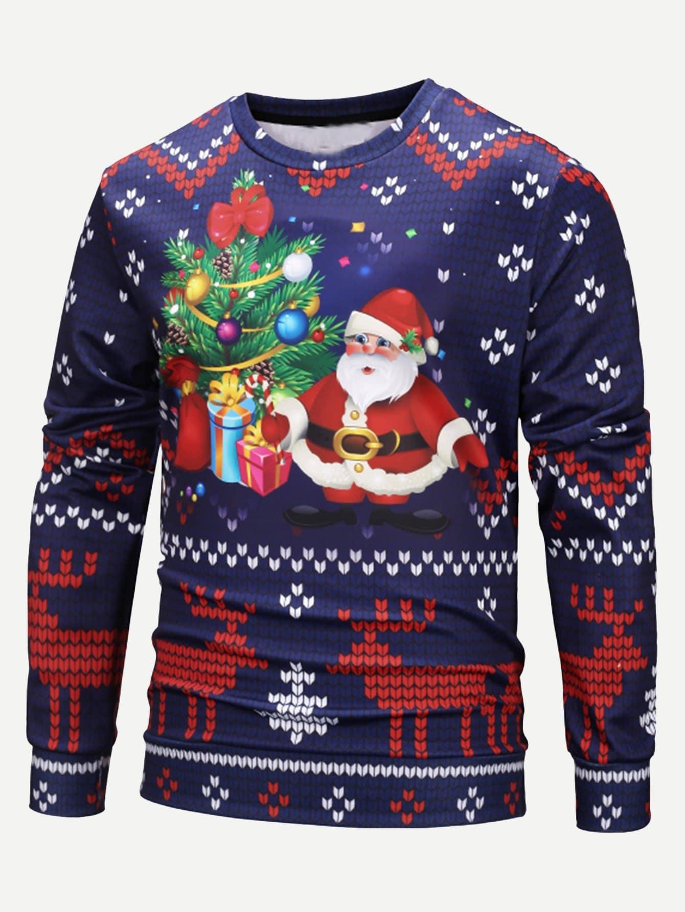 Купить Мужский свитшот с принтом рождественским, null, SheIn
