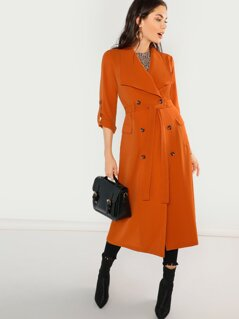 Waist Belted Double Breasted Waterfall Coat