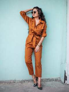 Button Front Self Belted Solid Jumpsuit
