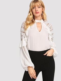 V-Cut Lace Insert Ruffle Trim Top