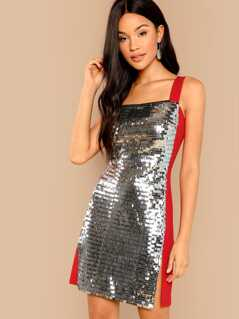 Thick Strap Two Tone Sequin Dress
