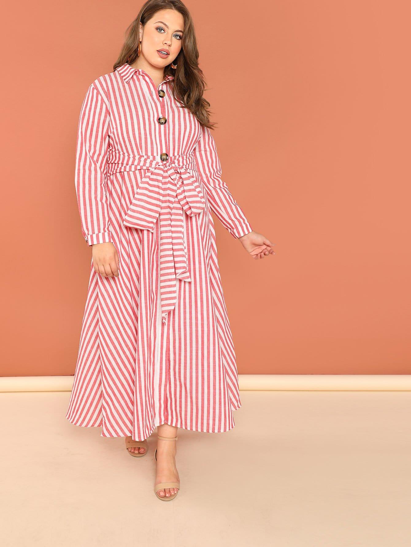 Купить Плюс размеры рубашка платье в полоску, Bailey Carr, SheIn