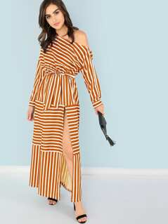 Asymmetric Shoulder Striped Split Dress With Belt