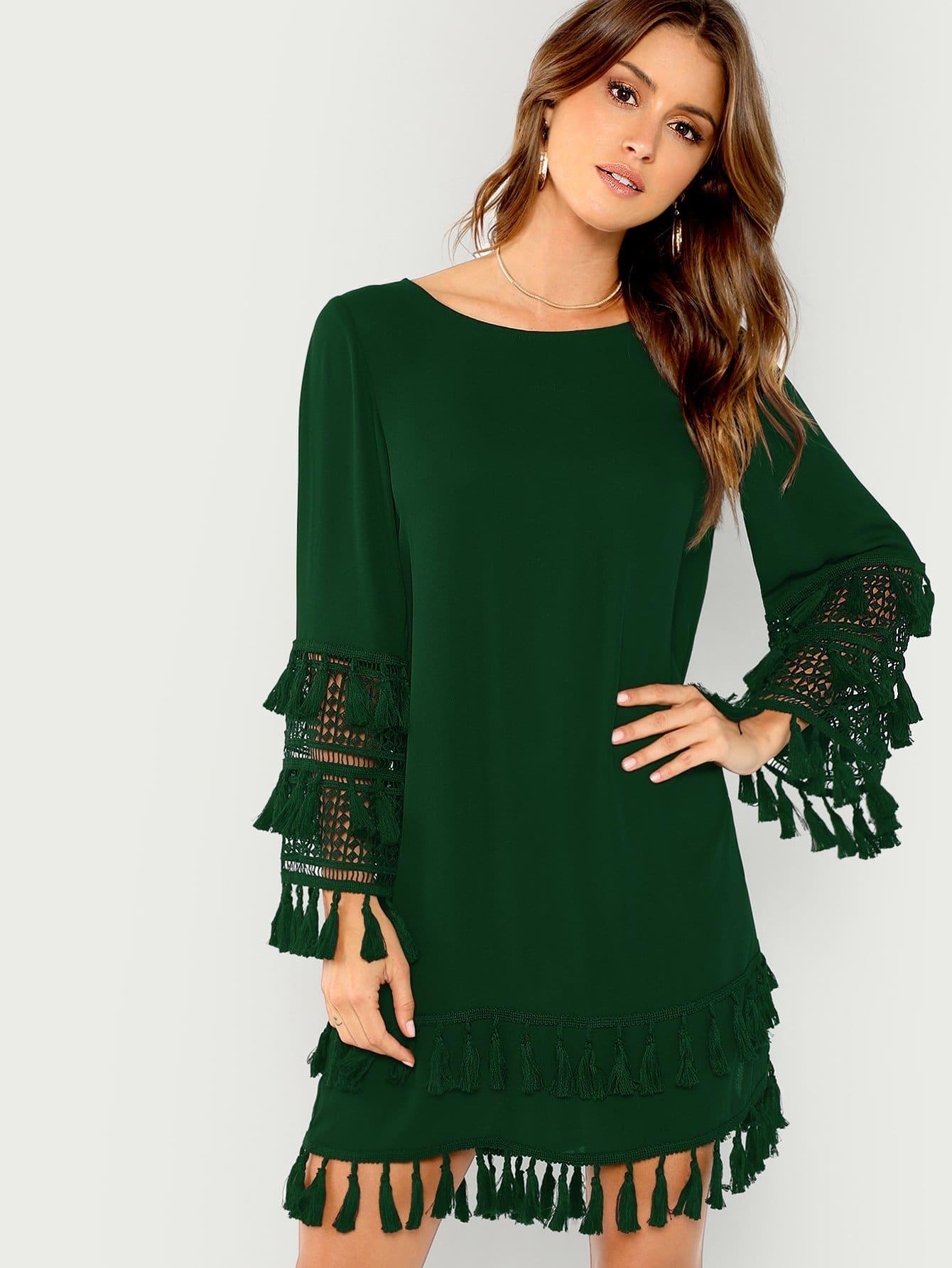 Купить Твердое платье с кисточкой, Gigi Paris, SheIn