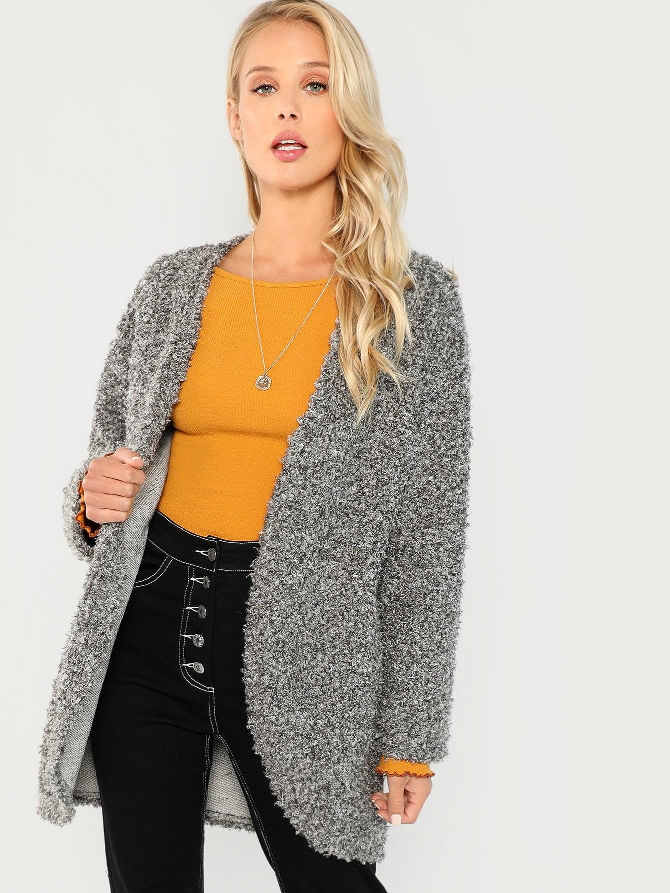 Купить Открытое пальто из искусственных кож, Allie Leggett, SheIn
