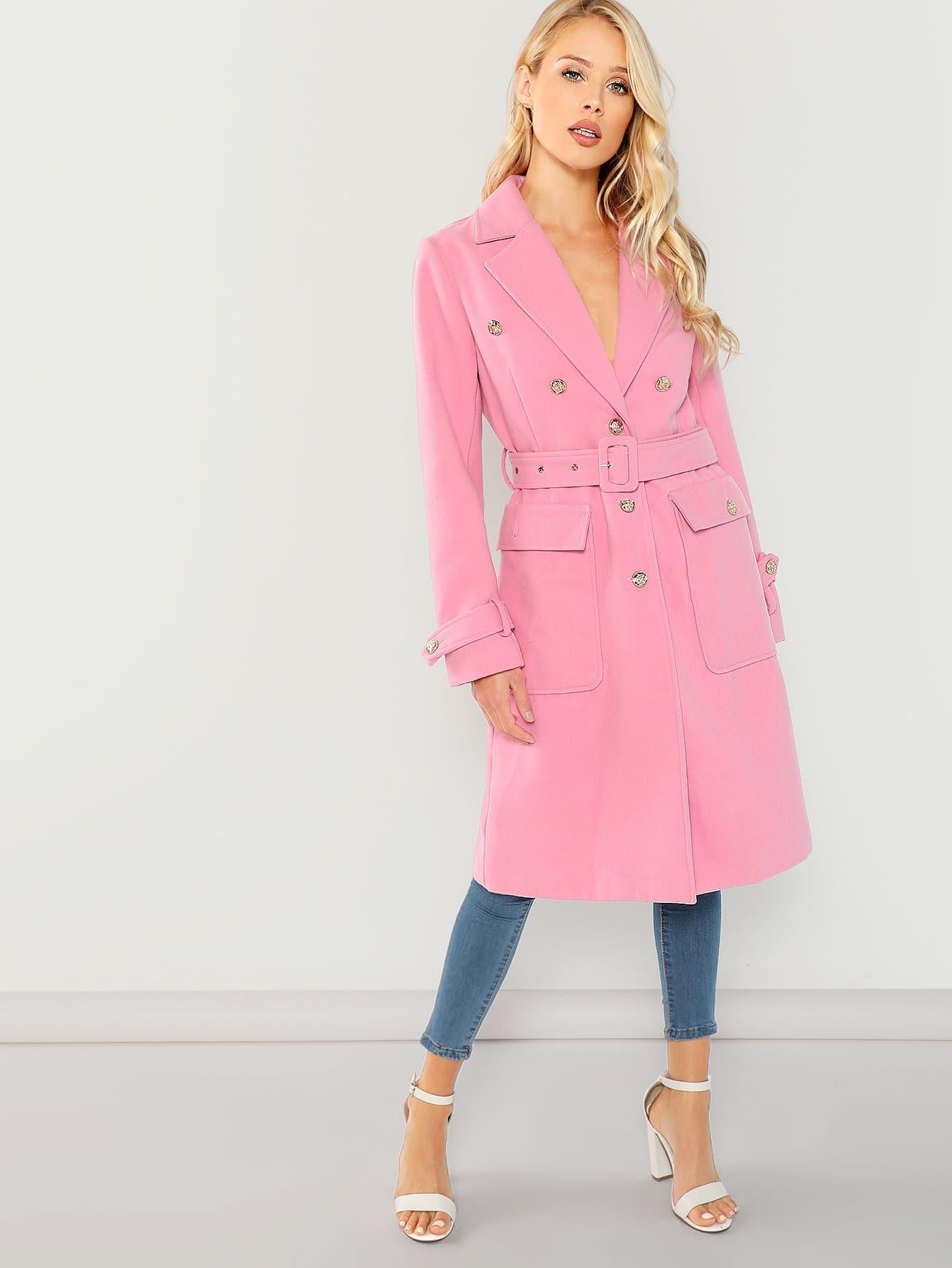 Купить Пальто с зубчатым воротником и с регулируемым поясом, Allie Leggett, SheIn