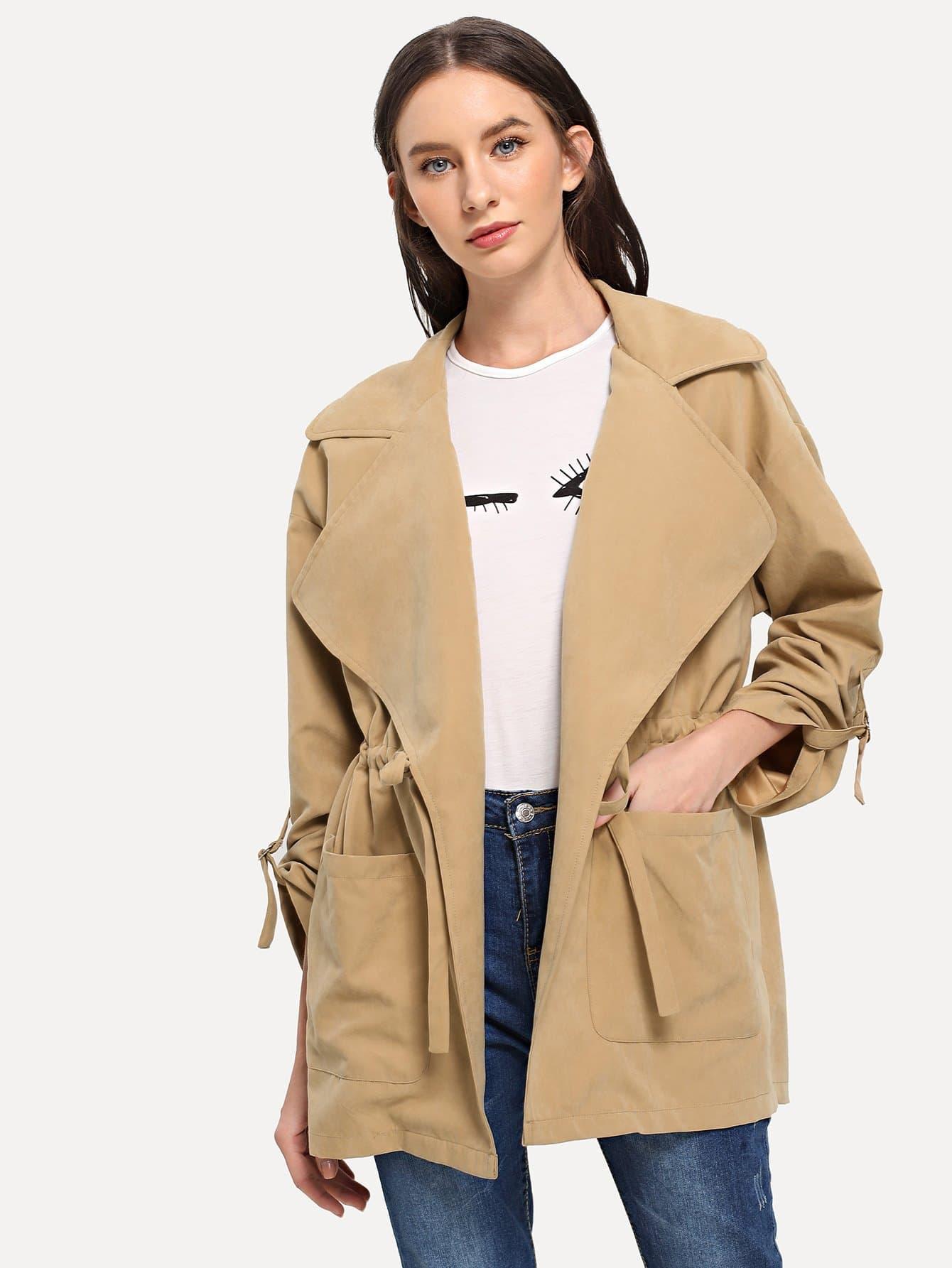 Купить Пальто с кулиской на талии с карманом, Kate B, SheIn
