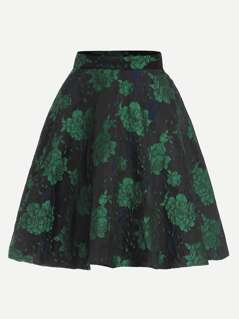 Zip Front Flower Print Skirt