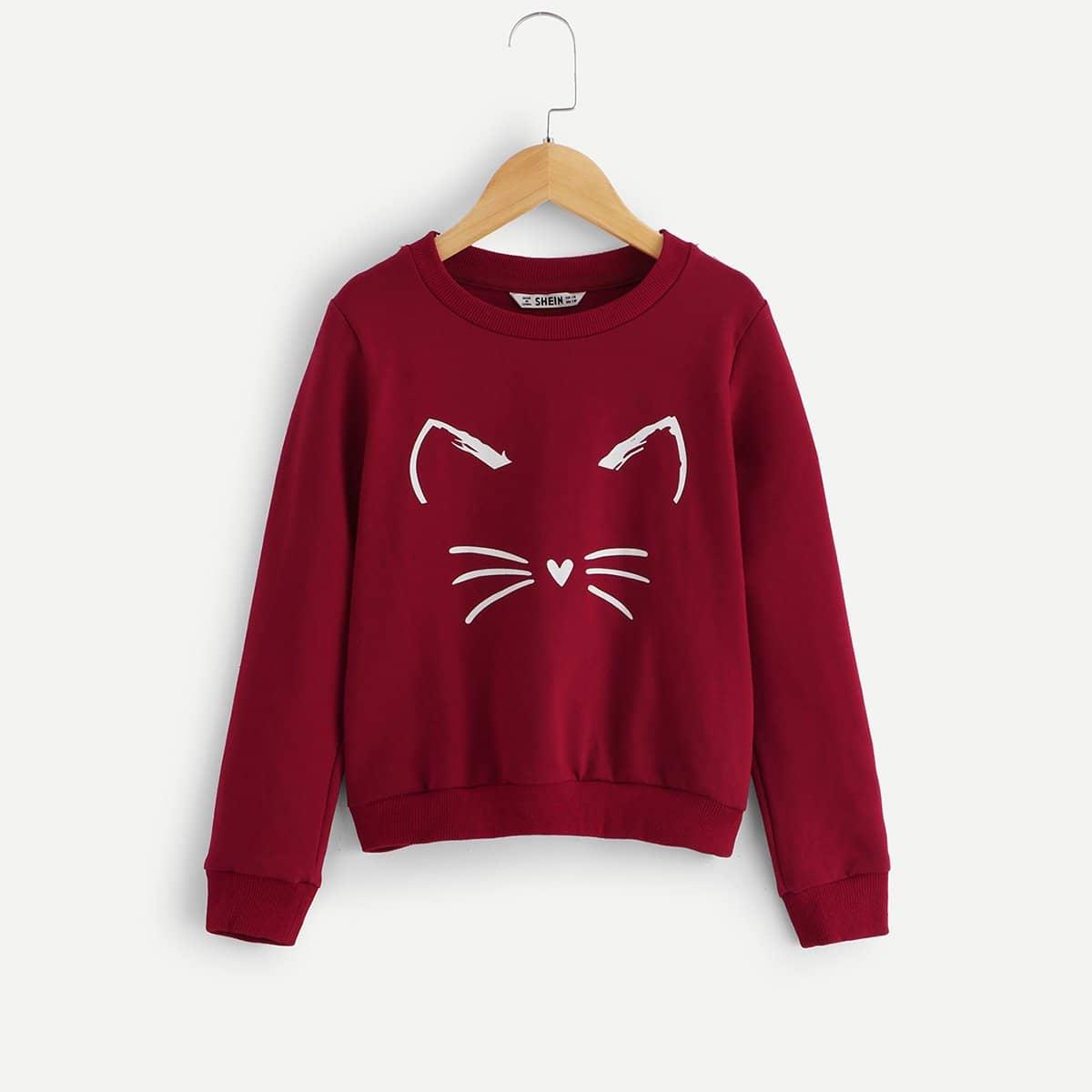 Для девочек свитшот с принтом кота от SHEIN