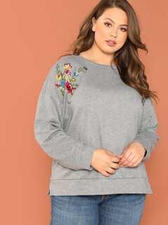 Plus Flower Embroidered Heather Grey Sweatshirt