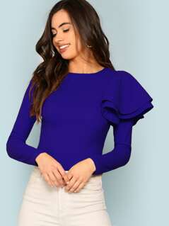 Side Tiered Ruffle Shoulder Top